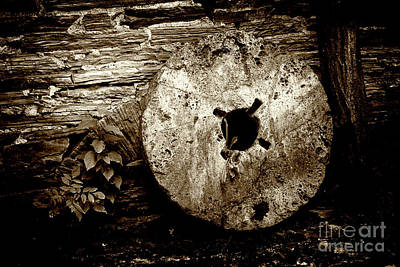 Photograph - Mill Stone Against Wall by Paul W Faust - Impressions of Light