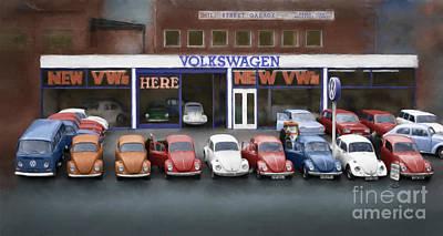 Mill Street Volkswagen Garage - 1970's Art Print by Linton Hart