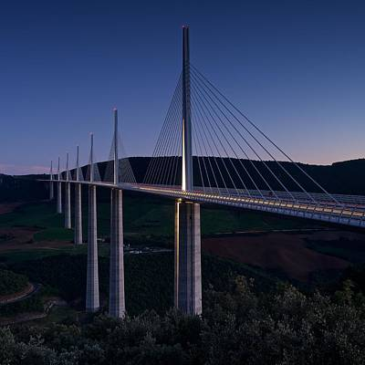 Millau Viaduct At Dusk Art Print