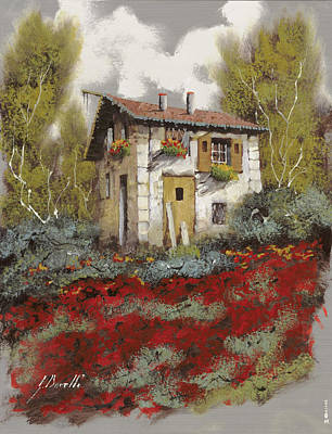 Old Houses Painting - Mille Papaveri by Guido Borelli