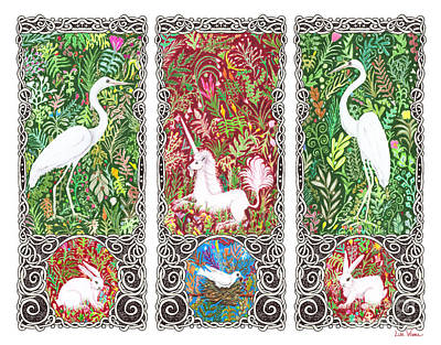 Millefleurs Triptych With Unicorn, Cranes, Rabbits And Dove Art Print