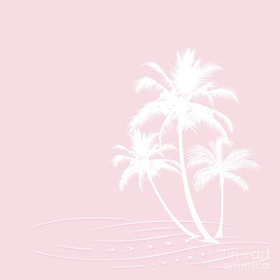 Digital Art - Millennial Pink White Tropical Palm Hawaii by Sharon Mau