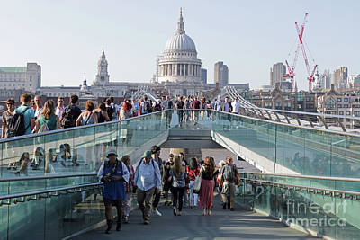 Photograph - Millennium Bridge And St Pauls Cathedral by Julia Gavin