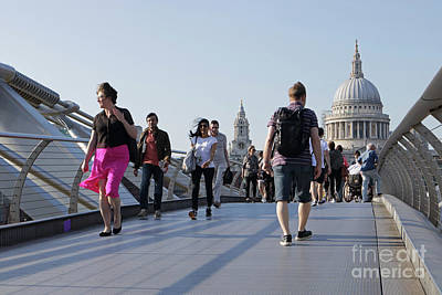 Photograph -  Millennium Bridge Crossing The Thames by Julia Gavin
