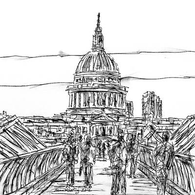 London Skyline Drawing - Millennium Bridge London by Brian Keating
