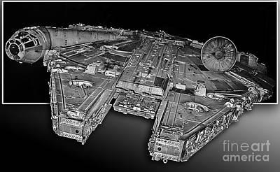 Millennium Falcon Attack Art Print