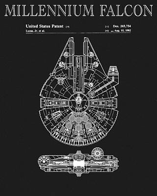 Science Fiction Drawings - Millennium Falcon by Dan Sproul