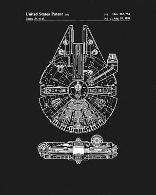 Science Fiction Drawings - Millennium Falcon Patent by Dan Sproul