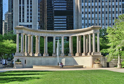 Photograph - Millennium Park Monument To Founders - Chicago by Allen Beatty