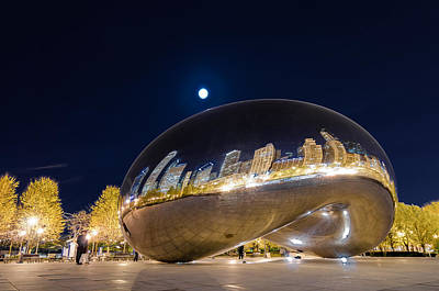Moonlit Photograph - Millennium Park - Chicago Il by Drew Castelhano