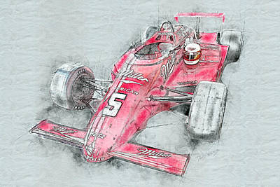 Mixed Media - Miller American Racing by David Wagner