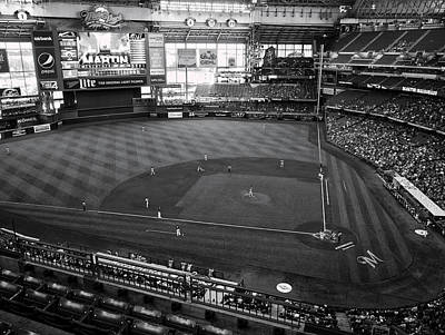 Photograph - Miller Park - Milwaukee - Wisconsin Black And White by Steven Ralser