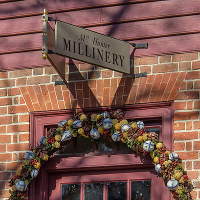 Pine Cones Photograph - Millinery Shop Sign Squared by Teresa Mucha