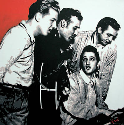 Johnny Cash Wall Art - Painting - Million Dollar Quartet by Hood alias Ludzska