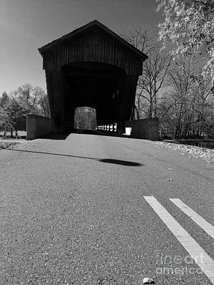 Indiana Flooding Photograph - Millrace Park Covered Bridge - Columbus Indiana - Bw by Scott D Van Osdol