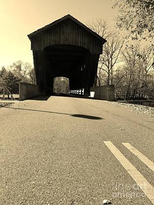 Millrace Park Covered Bridge - Columbus Indiana - Sepia Art Print
