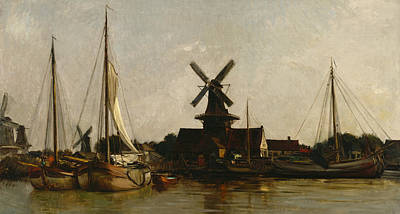 Netherlands Painting - Mills At Dordrecht by Charles Francois Daubigny