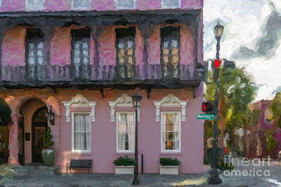 Gas Lamp Photograph - Mills House Pink Coral In Charleston Sc by Dale Powell