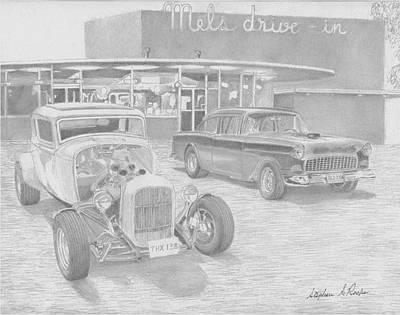 Tr Drawing - Milner Vs Falfa Classic Car Art Print by Stephen Rooks