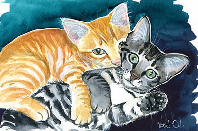 Painting - Milo And Tigger - Cute Kitty Painting by Dora Hathazi Mendes