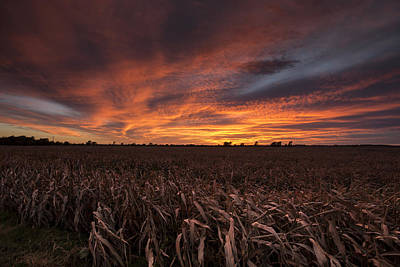 Harvest Photograph - Milo Harvest Sunset by Chris Harris