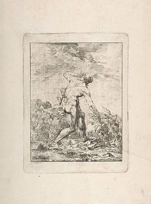 Drawing - Milo Of Croton by Philippe-Auguste Hennequin