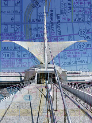 Photograph - Milwaukee Art Museum Wings W Map by Anita Burgermeister