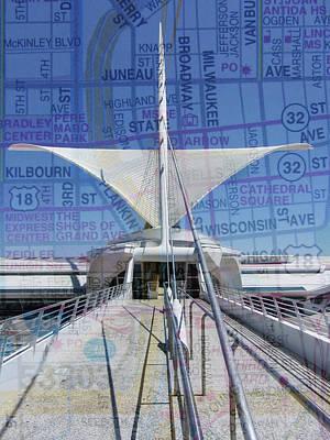 Milwaukee Art Museum Digital Art - Milwaukee Art Museum Wings W Map by Anita Burgermeister