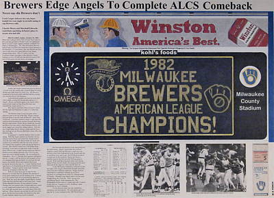 Major League Drawing - Milwaukee Brewers 1982 Al Pennant by Marc Yench