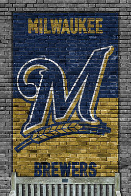 Painting - Milwaukee Brewers Brick Wall by Joe Hamilton