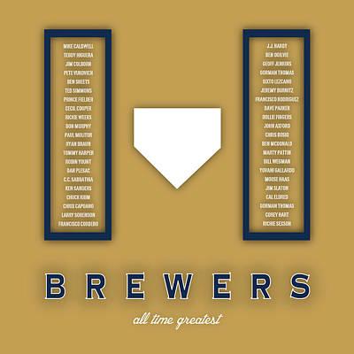 Mlb Digital Art - Milwaukee Brewers Art - Mlb Baseball Wall Print by Damon Gray