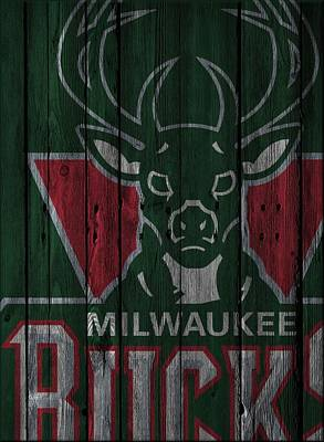 Milwaukee Bucks Wood Fence Art Print by Joe Hamilton