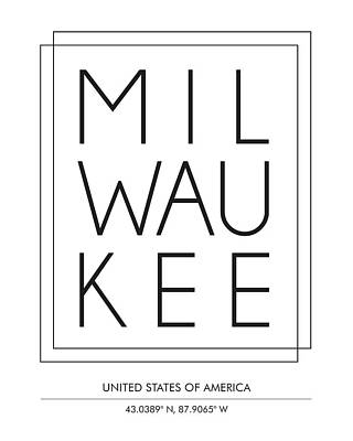 Milwaukee City Print With Coordinates Art Print