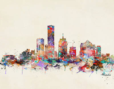 Painting - Milwaukee City Skyline by Bleu Bri