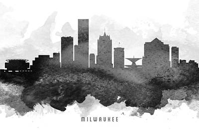 Milwaukee Painting - Milwaukee Cityscape 11 by Aged Pixel