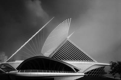Photograph - Milwaukee Museum Of Art Milwaukee Wisconsin Black White 2 by David Haskett