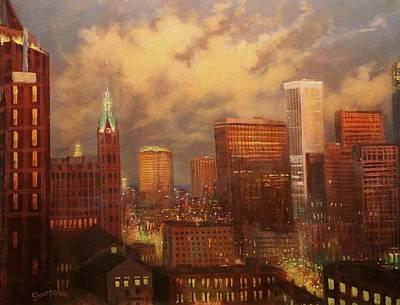 City Lights Painting - Milwaukee My Hometown by Tom Shropshire