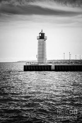 Lake Station Photograph - Milwaukee Pierhead Lighthouse Photo In Black And White by Paul Velgos