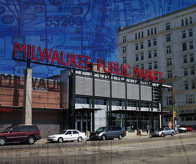 Photograph - Milwaukee Public Market W Map by Anita Burgermeister