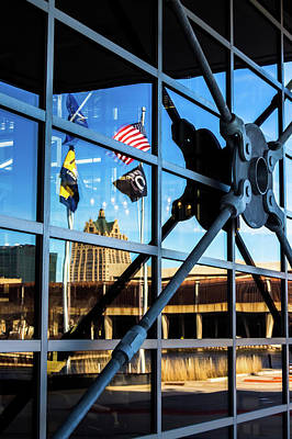 Photograph - Milwaukee Reflected In The Windows Of The Harley Davidson Museum by Jeanette Fellows