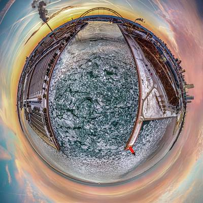 Photograph - Milwaukee River Little Planet by Randy Scherkenbach