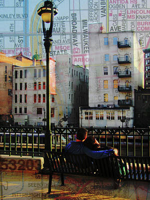 Street Lamps Digital Art - Milwaukee River Romantic Bench View W Map by Anita Burgermeister