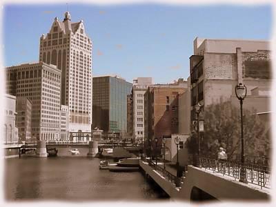 Digital Art - Milwaukee Riverwalk by Anita Burgermeister