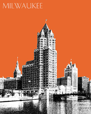 Pen Digital Art - Milwaukee Skyline - 4 - Coral by DB Artist