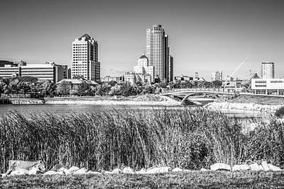 Milwaukee Skyline Photograph - Milwaukee Skyline And Lakeshore State Park Black And White Pictu by Paul Velgos