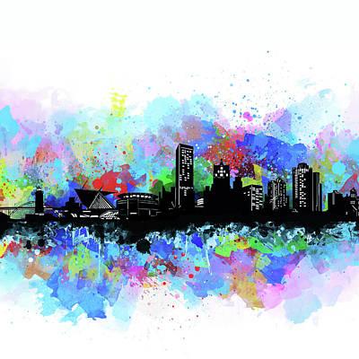 Digital Art - Milwaukee Skyline Artistic 2 by Bekim Art