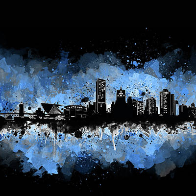 Abstract Skyline Royalty-Free and Rights-Managed Images - Milwaukee Skyline Artistic 3 by Bekim Art