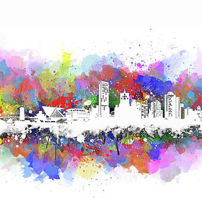 Abstract Skyline Royalty-Free and Rights-Managed Images - Milwaukee Skyline Artistic by Bekim Art
