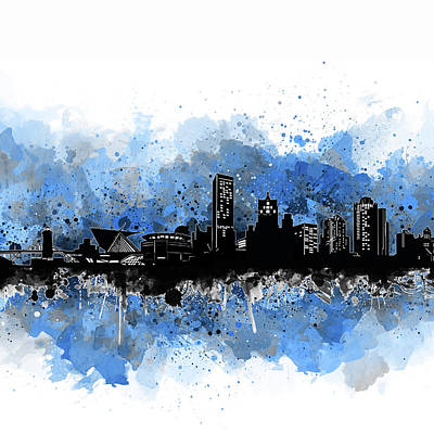 Abstract Skyline Royalty-Free and Rights-Managed Images - Milwaukee Skyline Artistic Blue by Bekim Art