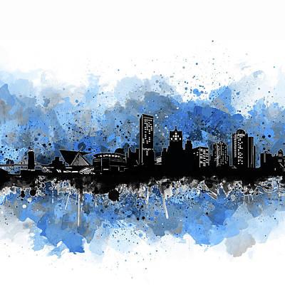 Digital Art - Milwaukee Skyline Artistic Blue by Bekim Art